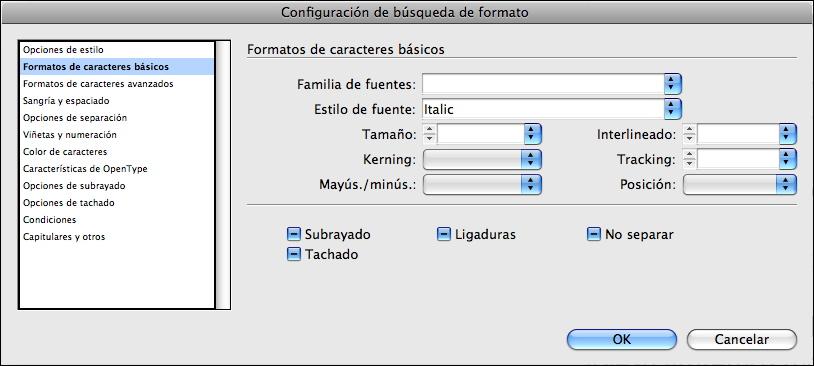 Figura 6. Cuadro de diálogo Configuración de búsqueda de formato.