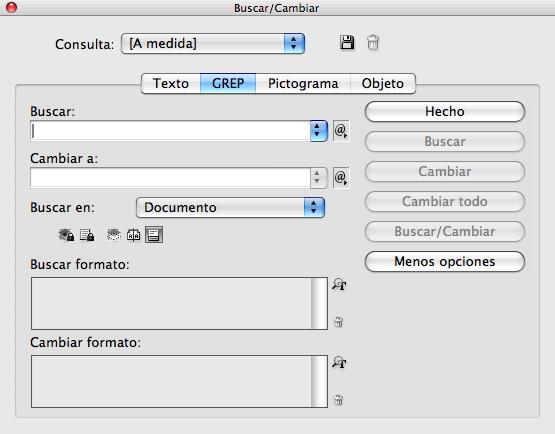 Figura 1. Opciones GREP del cuadro de diálogo Buscar/Cambiar